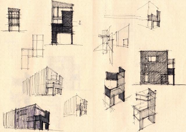 木製スクリーンとバルコニーのある三階建て狭小都市型住宅 外観の計画