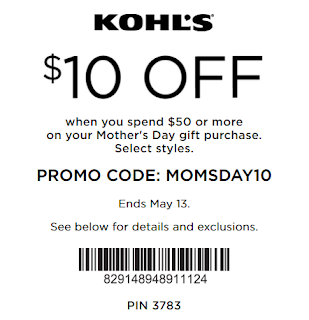 Kohls coupon $10 OFF $50 Mothers' Day gift 2018