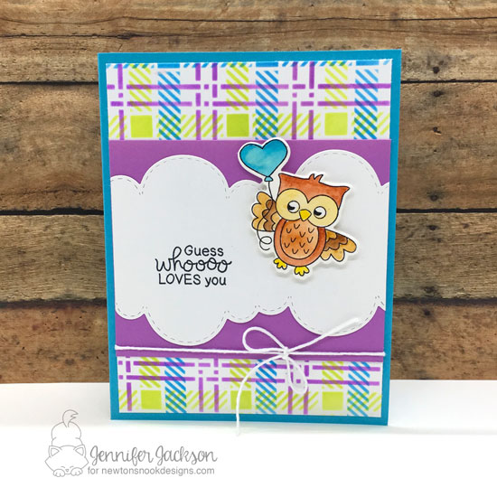 NND Sponsors Cupcake Inspirations Challenge #465 | Owl card by Jennifer Jackson | Love Owl-ways Stamp Set, Sky Borders Die Set and Plaid Stencil Set by Newton's Nook Designs #newtonsnook #handmade