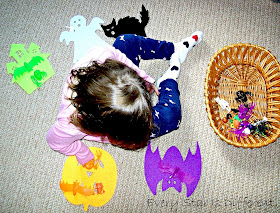 Halloween color sorting activity.