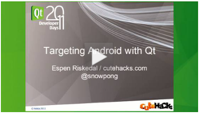 Targeting Android with Qt - video from Qt Developer Days 2011