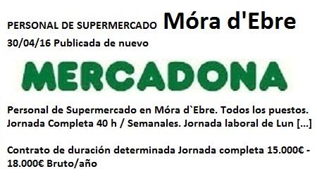 Lanzadera de Empleo Virtual Tarragona, Mercadona Móra d`Ebre