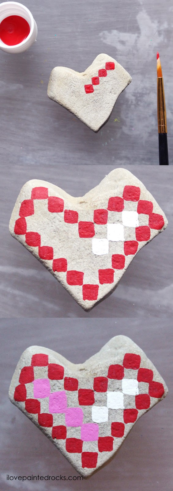 Easy rock painting ideas for Valentine's Day. I love all the painted rock tutorials in this post! Learn how to paint a pixelated heart rock. #ilovepaintedrocks #rockpainting #paintedrocks #valentinescraft #easycraft #kidscraft #rockpaintingideas