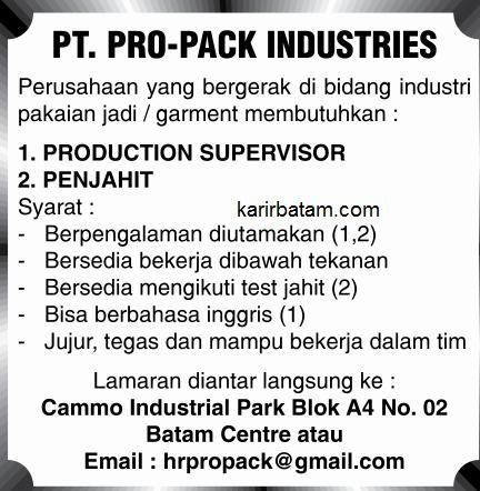 Lowongan Kerja PT. Pro Pack Industries