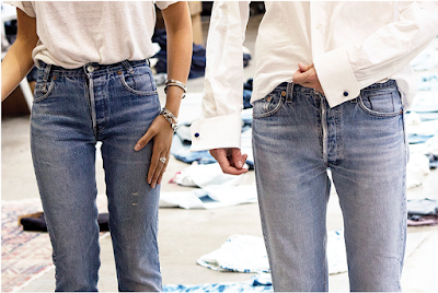 Vogue reporters wearing custom vintage Levis 501, showing special identification of custom tag stitching on left pocket enterance
