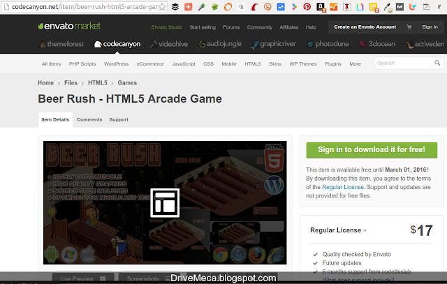 DriveMeca descargando GRATIS videojuego en Html 5 gracias a Envato