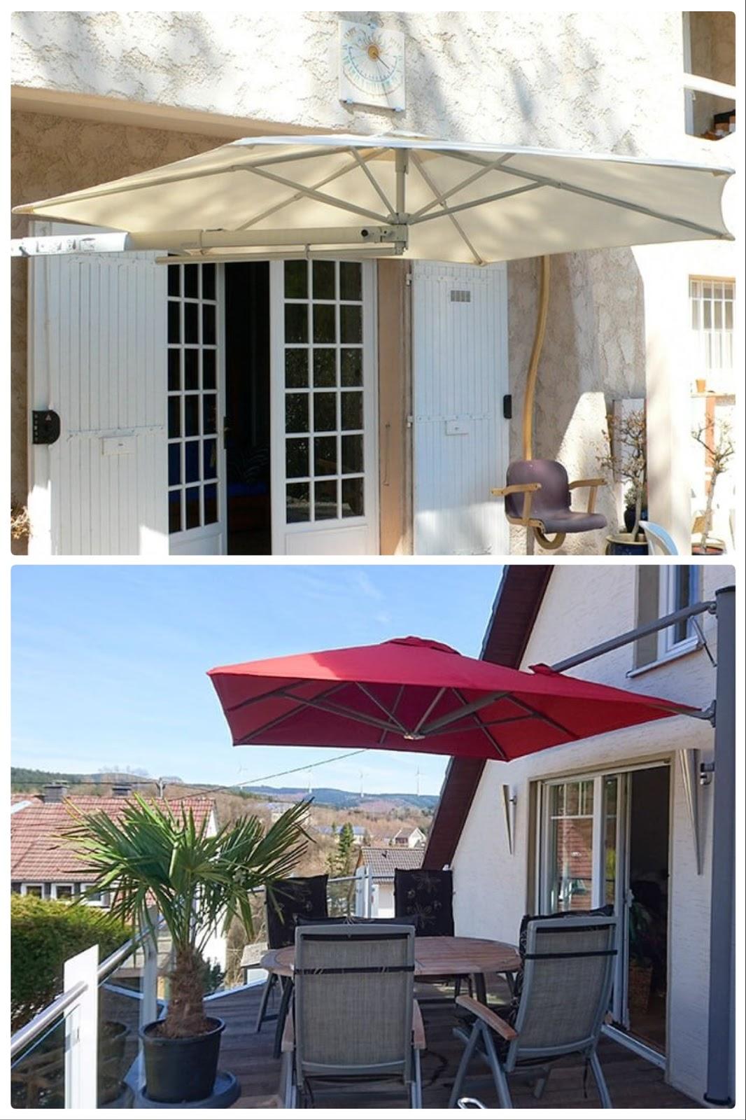 Sonnenschutz für Terrasse Balkon und Garten mit Solero Sonnenschirm Wandschrim flexibel