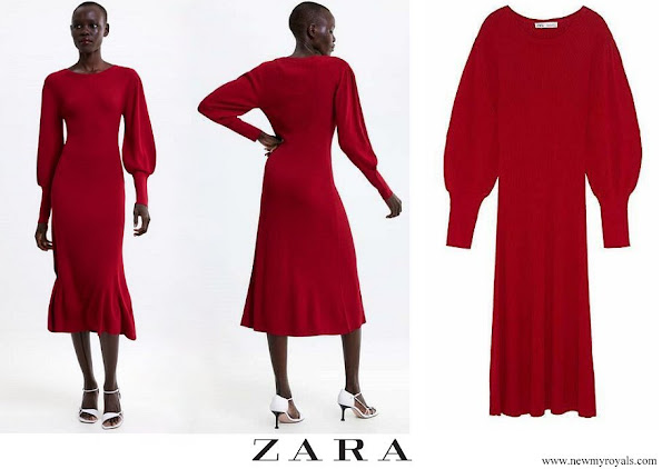 Kate Middleton wore Zara Knitted Puff-Sleeve Jumper Midi Dress