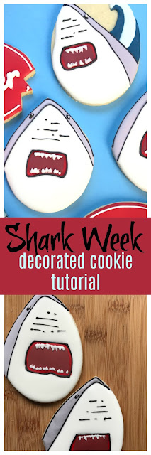 shark week decorated sugar cookies
