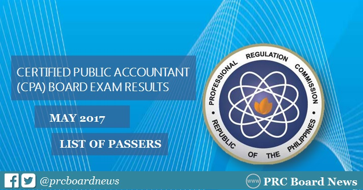 LIST OF PASSERS: PRC releases May 2017 CPA board exam results
