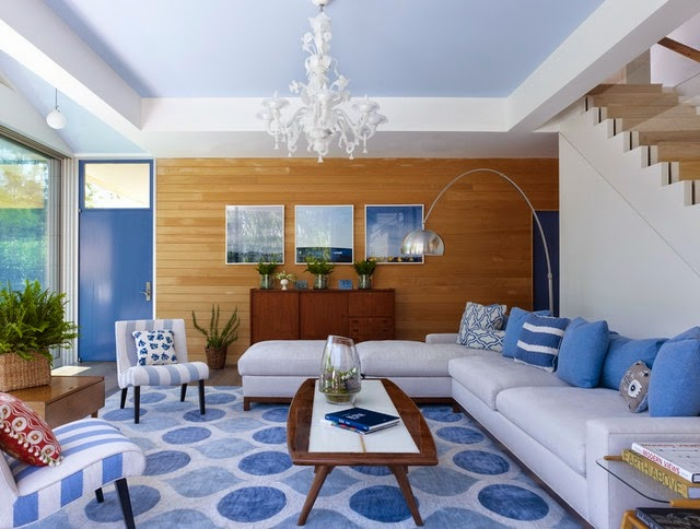 Sala en tonos azules