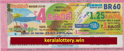 Summer Bumper - Kerala Lottery- BR-60 on 21st March 2018