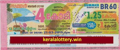 Summer Bumper - Kerala Lottery- BR-60 on 21st March 2018