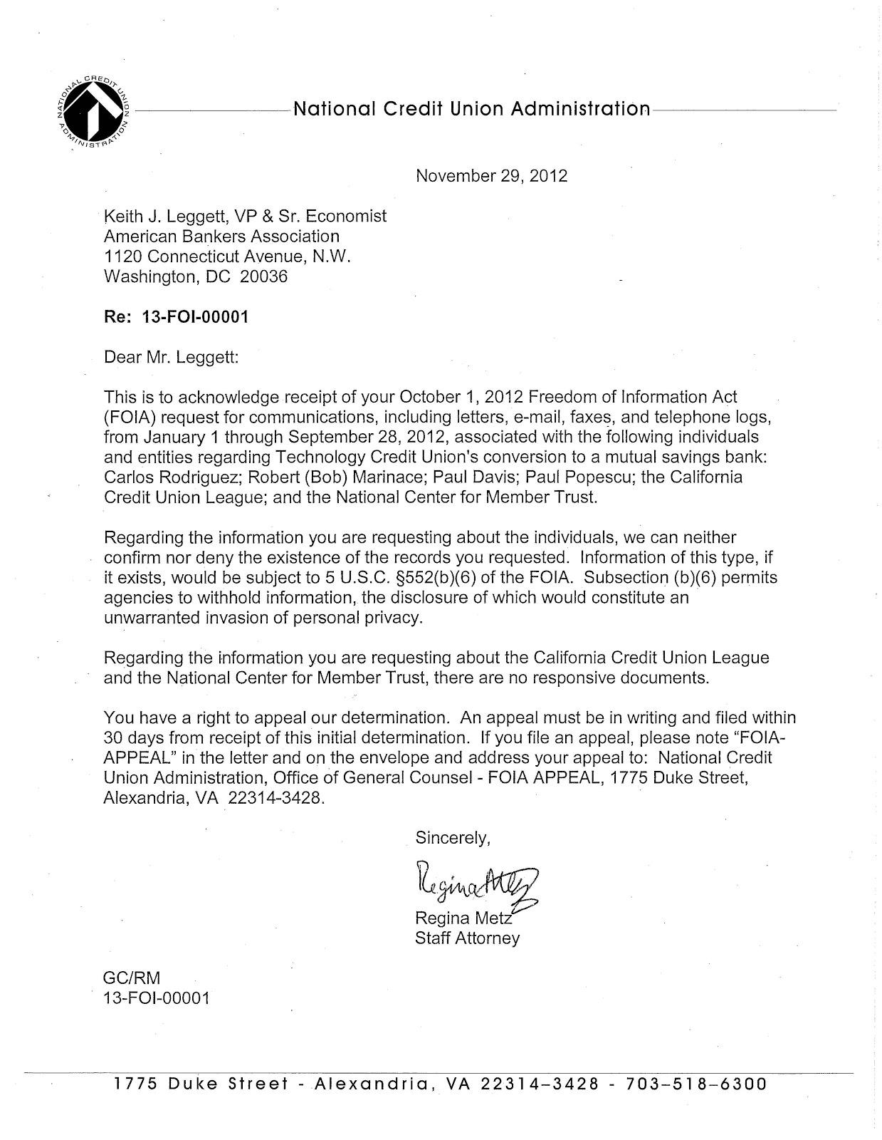 Keith Leggett's Credit Union Watch: NCUA's Denial Of FOIA