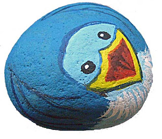 painted rocks, critters, birds, bluebird, rock painting, Cindy Thomas