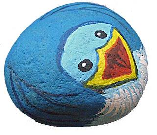 painted rocks, critters, birds, bluebird, rock painting, Cindy Thomas