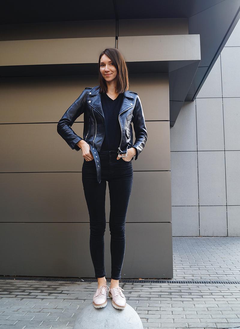 Косуха и джинсы, образы с косухой