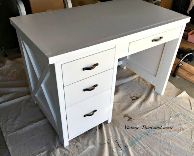 upcycled desk with paint and new hardware