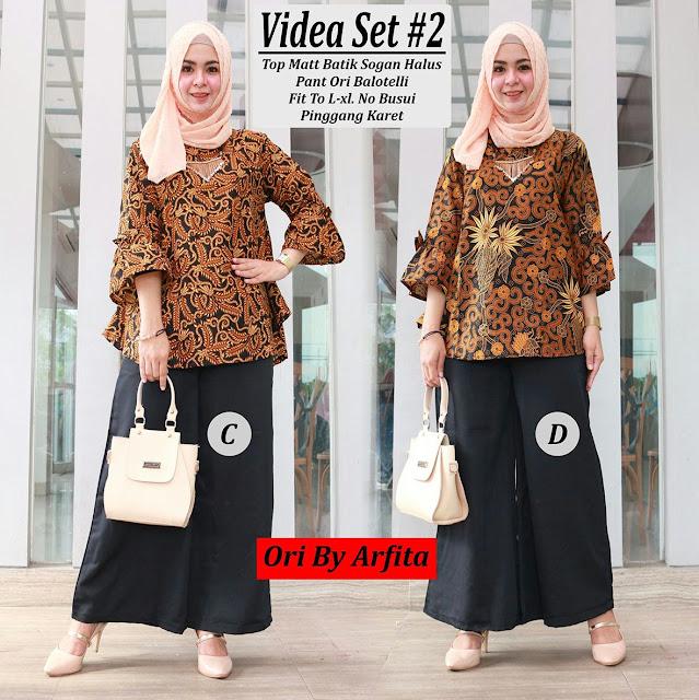Baju Atasan Batik Set Celana Pants Muslimah