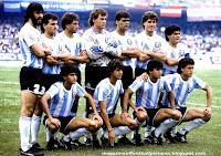 SELECCIÓN DE ARGENTINA - Temporada 1985-86 - Batista,  Cuciuffo, Garre, Pumpido, Brown, Ruggeri, Maradona; Burruchaga, Giusti, Borghi y Valdano - ARGENTINA 2 (Valdano y Burruchaga), BULGARIA 0 - 10/06/1986 - Campeonato Mundial de México 1986, fase de grupos - Ciudad de México (México), estadio Azteca