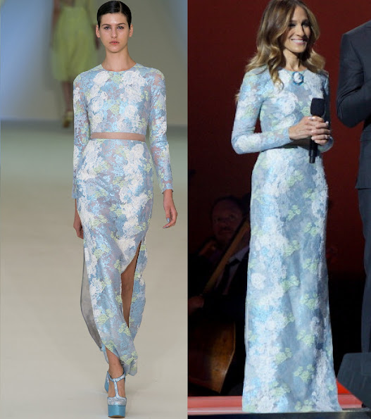 Sarah Jessica Parker and Gerard Butler hosted the Nobel Peace Prize Concert. She wore Erdem Spring 2013 gown