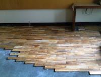 Pemasangan parket kayu Jati diatas multiplek