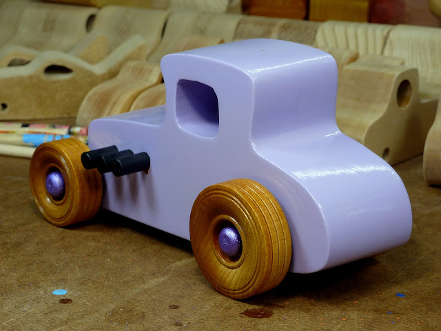 20170522-190250 Wooden Toy Car - Hot Rod Freaky Ford - 27 T Coupe - MDF - Lavender - Amber Shellac - Metallic Purple 06