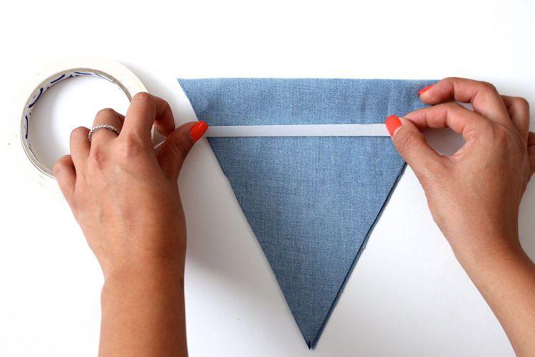 pasos para hacer una guirnalda de tela sin coser