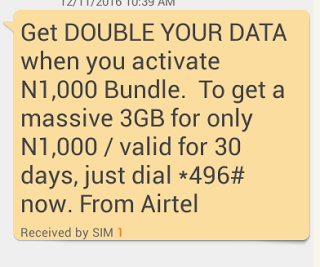 Airtel Double Data Offer : Get 3GB For Only 1k, 7GB For 2k or 18GB For 4k On Your Airtel Sim