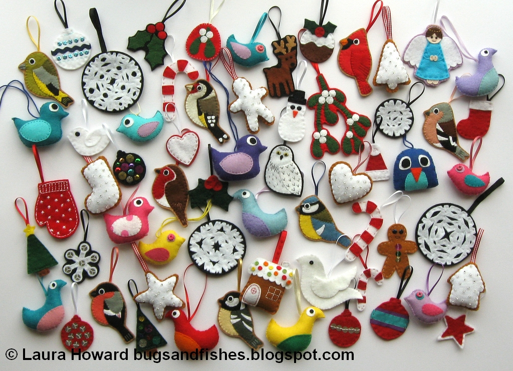 Bugs and Fishes by Lupin LOTS of Felt Christmas Decorations! - felt christmas decorations