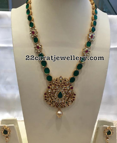 Emerald Long Chain Kundan Pendant