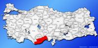 Mersin ilinin Türkiye haritasında gösterimi