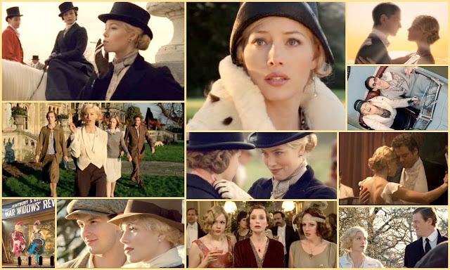 Movie Collage of Easy Virtue starring Jessica Biel, Kristin Scott Thomas, Ben Barnes and Colin Firth. British period comedy drama by Noel Coward set in the british countryside. 1920s 1930s setting, excellent autumn/fall movie.
