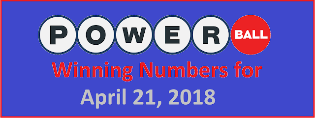 PowerBall Winning Numbers for Wednesday, 21 April 2018