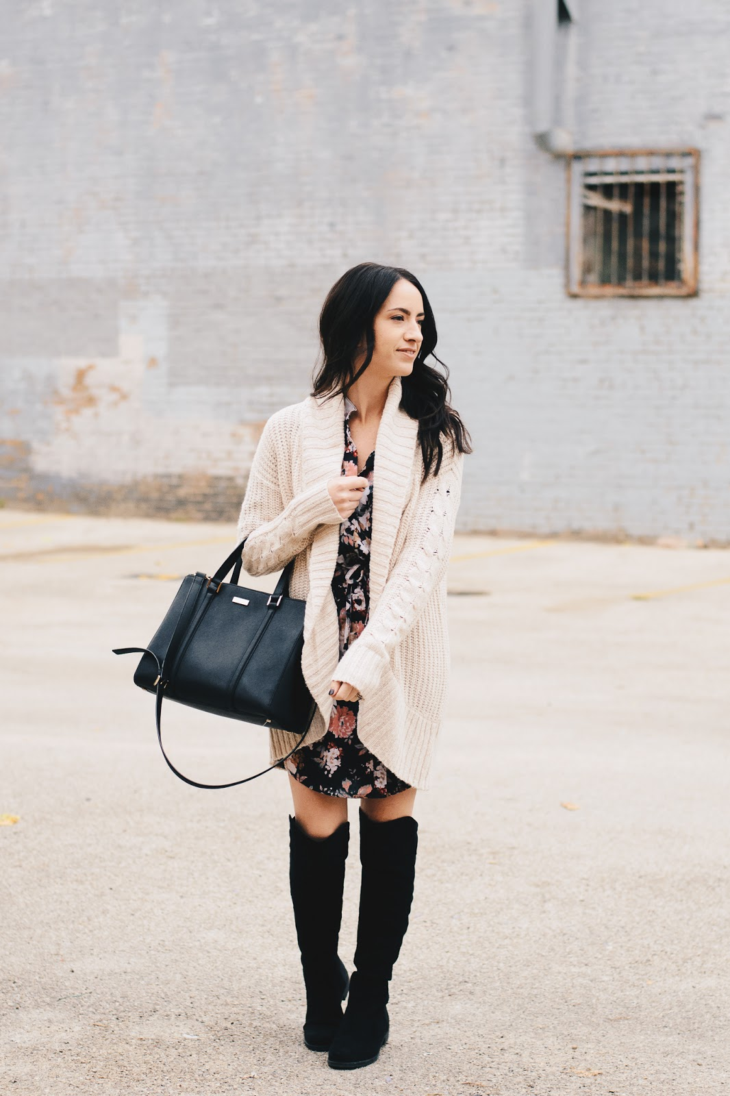Chunky Knit Cardigan and Floral Dress