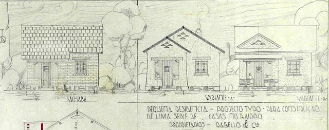ID 429 - Projeto de pequena residência para construção de uma série de casas tipo A – Projeto n. 5, Vitória, proprietário Rabello e Cia., janeiro de 1939.