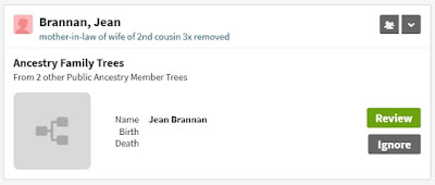 Screen capture from Ancestry Member Trees hints for Jean Brannan