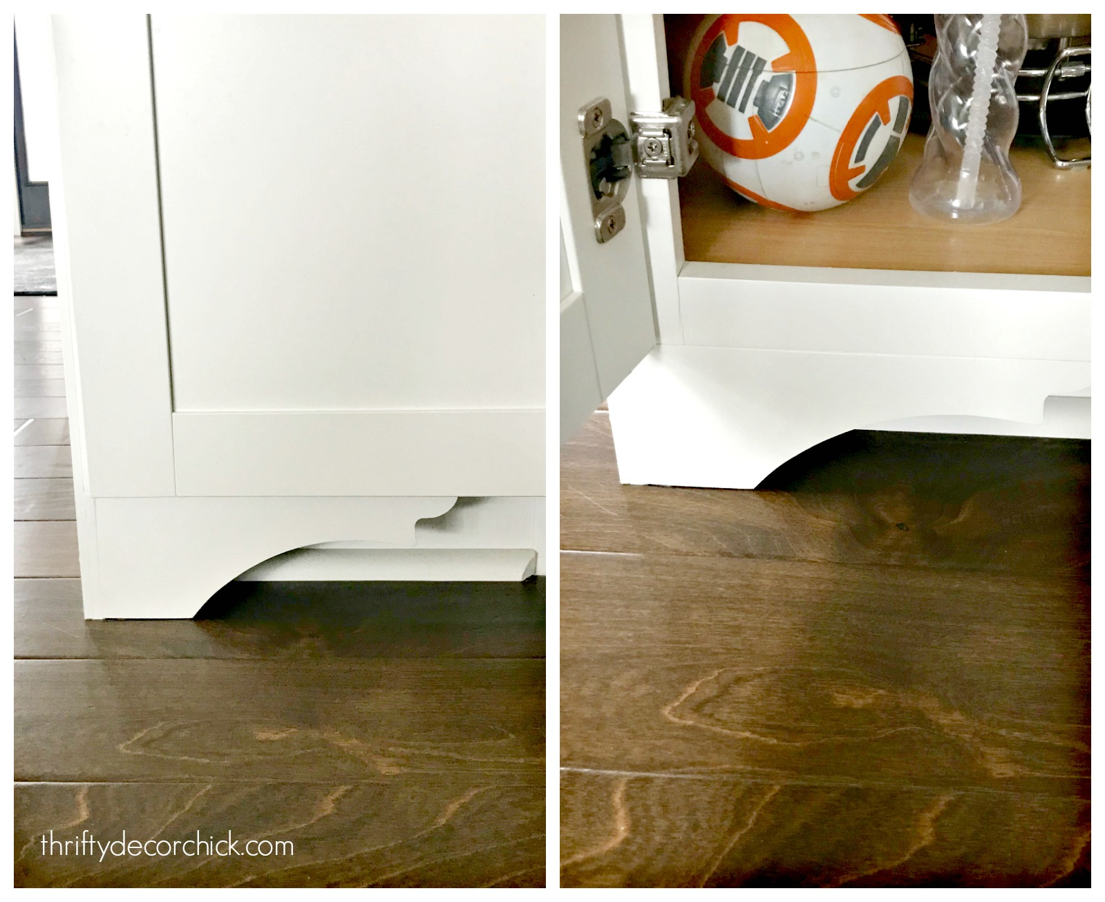 DIY furniture feet for basic kitchen cabinets from Thrifty ...