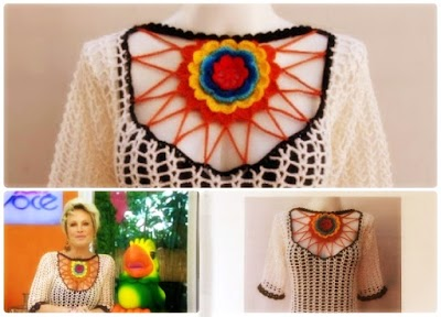 Top Jersey Escote Crochet Creativo