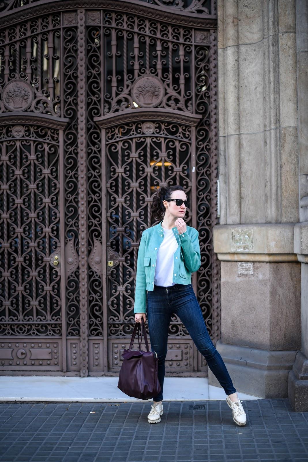 green_suede_jacket_zara_streetstyle_barcelona