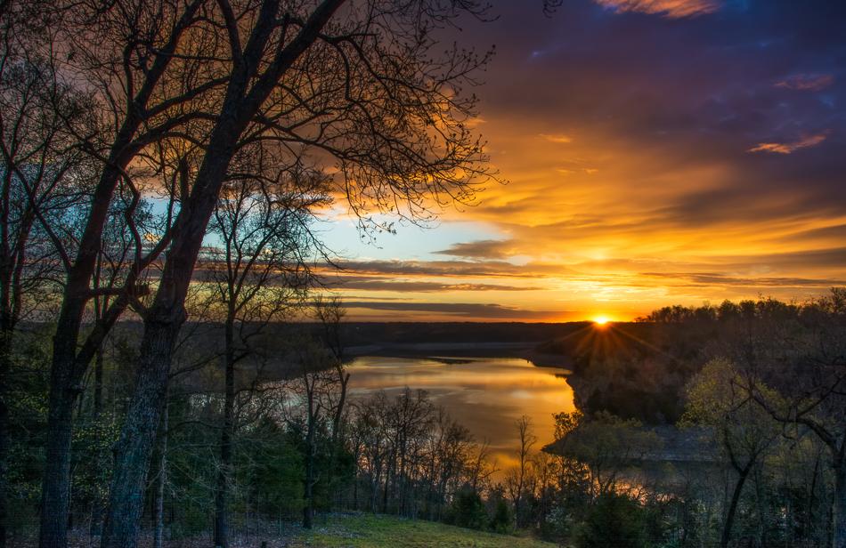 Sunrise over Bull Shoals Lake