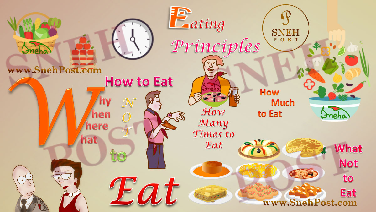 Healthy eating habits to inculcate now: How to eat, how many time to eat, how much to ear, what not to eat; why, when, where, what to eat: best alphabetic word cartoon illustration by Sneha