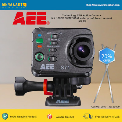 AEE Technology S71T Action Camera (4K ,1080P, 16MP,100M water proof ,touch screen) (Black)