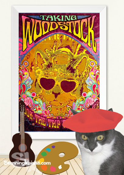 Psychedelic Cat Headlines Woodstock