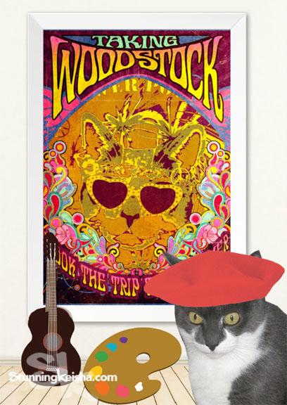 Psychedelic Cat Headlines Woodstock