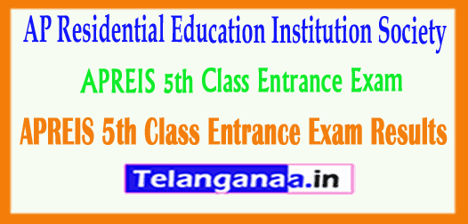 APREIS 5th Class AP Residential Education Institution Society Entrance Exam Results 2019