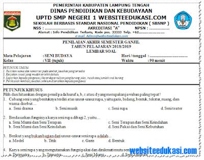Soal PAS/ UAS Seni Budaya Kelas 7 K13 Tahun 2018/2019