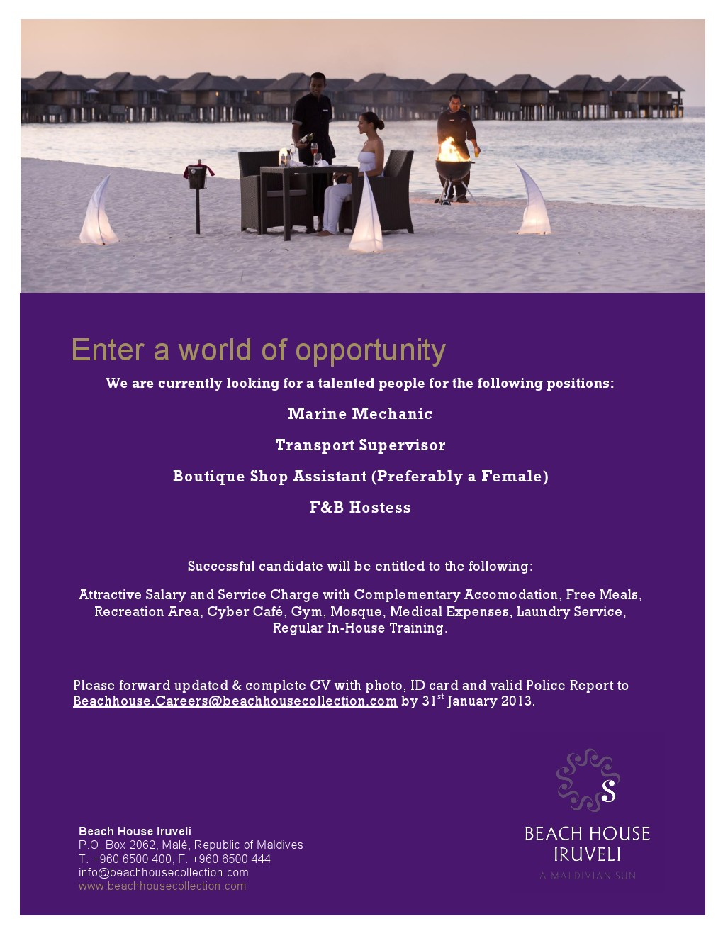 Job Maldives: Job Opportunities at Beach House Iruveli