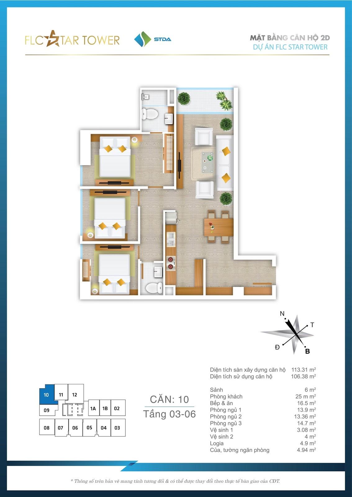 Thiết kế căn hộ 10 - Chung cư FLC Star Tower Hà Đông
