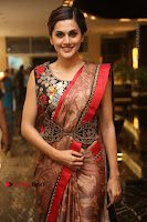 Tapsee Pannu Latest Stills in Red Silk Saree at Anando hma Pre Release Event .COM 0048.JPG